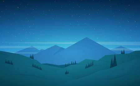 Vector illustration: Flat cartoon Night Mountains landscape with hills and stars on the sky