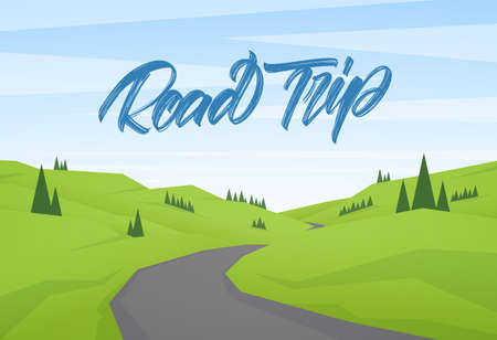 Vector cartoon flat summer landscape with handwritten type lettering of Road trip.