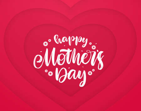 Greeting card with hand drawn calligraphic lettering of Happy Mothers Day on paper hearts background