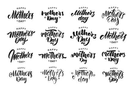 Vector illustration: Big set of Handwritten lettering compositions of Happy Mothers Day isolated on white background.