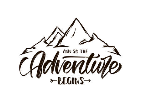 Vector illustration: Modern brush lettering of And so the Adventure Begins with Hand drawn Peaks of Mountains sketch Stock fotó - 122578912
