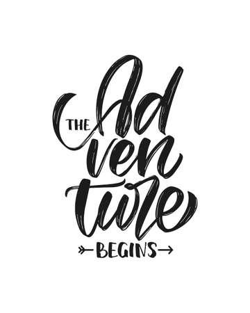 Vector illustration: Handwritten Modern brush type lettering composition of The Adventure Begins. T shirt design Ilustrace
