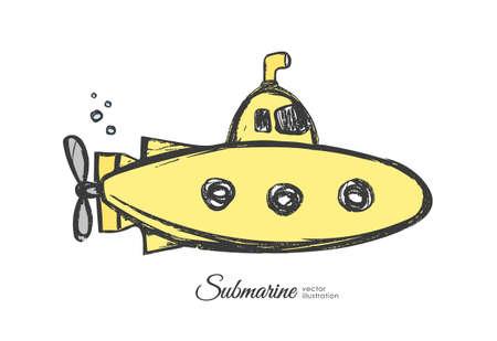 Vektorillustration: Hand gezeichnetes strukturiertes gelbes U-Boot der Karikatur auf weißem Hintergrund.