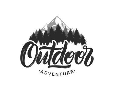 Vector illustration: Handwritten Modern brush lettering composition of Outdoor adventure with silhouette of pine forest and mountains. Ilustração