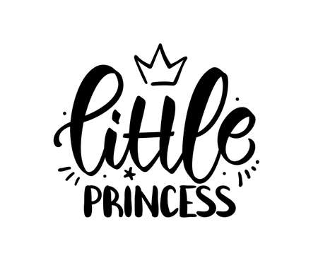 Vector illustration: Hand drawn lettering composition of Little Princess with crown on white background. Girl t shirt design.