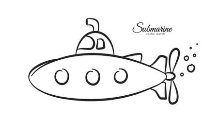 Vector illustration: Hand drawn cartoon submarine on white background. Sketch line design Illustration