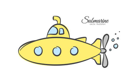 Vector illustration: Hand drawn cartoon yellow submarine on white background. Çizim