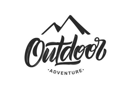 Vector illustration: Handwritten Modern brush lettering composition of Outdoor adventure with silhouette of mountains. Ilustração