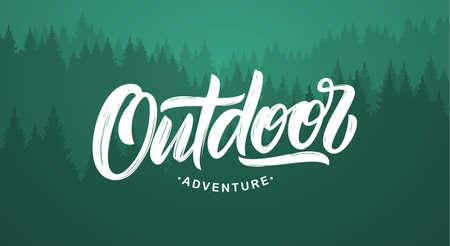 ベクターイラスト:松林の背景に屋外の冒険の手書きの現代テクスチャブラシレタリング