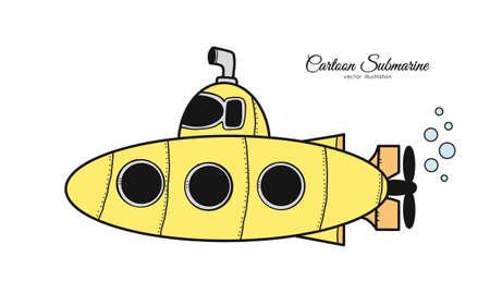 Vektorillustration: Gelbes U-Boot der Hand gezeichneten Gekritzelkarikatur auf weißem Hintergrund.