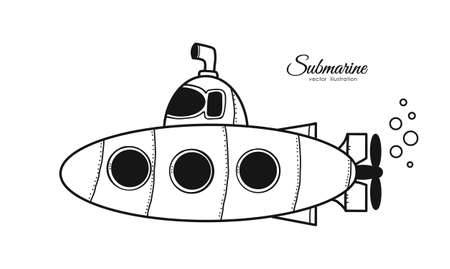 Vector illustration: Hand drawn cartoon doodle submarine on white background. Sketch line design Illustration