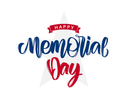 Vector illustration: Handwritten lettering composition of Happy Memorial Day with ribbon and stars on white background. Stock Vector - 122506160