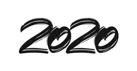 Handwritten brush lettering numbers of 2020. Happy New Year. Chines calligraphy