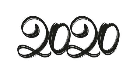 Hand drawn lettering numbers of 2020. Happy New Year. Chines calligraphy