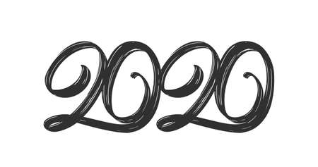 Hand drawn type lettering numbers of 2020. Happy New Year. Chines calligraphy