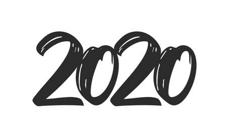 Hand drawn type lettering of 2020. Happy New Year. Chines calligraphy