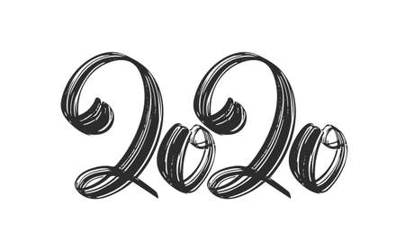 Hand drawn lettering of 2020. Happy New Year. Chines calligraphy Çizim