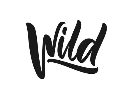 Handwritten type calligraphic lettering of Wild on white background  イラスト・ベクター素材