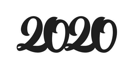 Handwritten type lettering for 2020 New Year. Black hand drawn number. Typography design