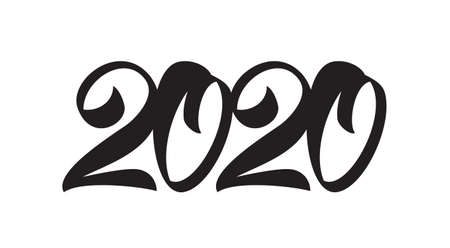 Handwritten lettering for 2020 New Year. Black hand drawn number. Typography design