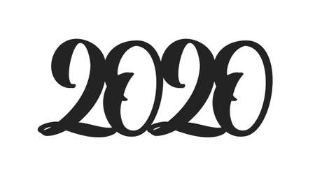 Handwritten type lettering for 2020 New Year. Black hand drawn number on white background.