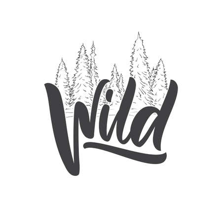Handwritten type lettering of Wild with Hand Drawn Pine Forest. Brush calligraphy. Typography design.