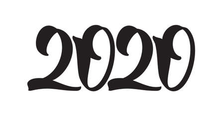 Handwritten lettering for 2020 New Year. Hand drawn number on white background. Typography design  イラスト・ベクター素材