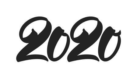 Handwritten brush type lettering for 2020 New Year. Black hand drawn number on white background. Typography design