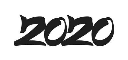 Handwritten type lettering for 2020 New Year. Hand drawn number on white background. Typography design