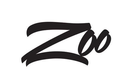 Handwritten brush type lettering emblem of Zoo on white background.