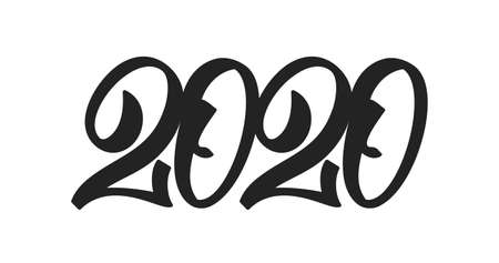 Handwritten type lettering for 2020 New Year. Black hand drawn number on white background. Typography design Illustration