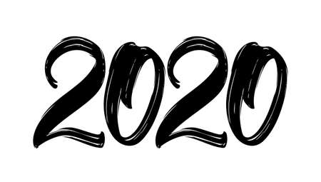Hand drawn brush lettering numbers of 2020. Happy New Year. Chines calligraphy