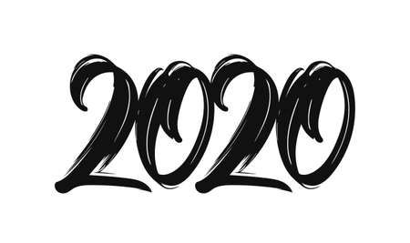 Hand drawn brush lettering of 2020. Happy New Year. Chines calligraphy