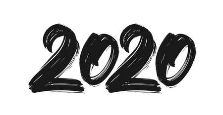 Handwritten lettering of 2020. Happy New Year.