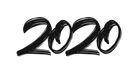 Handwritten type lettering numbers of 2020. Happy New Year. Chines calligraphy