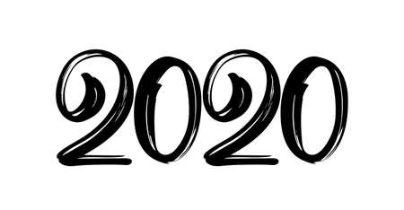 Handwritten lettering numbers of 2020. Happy New Year. Chines calligraphy