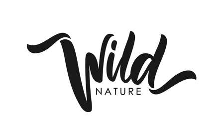 Handwritten type calligraphic lettering of Wild Nature on white background