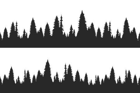 Conjunto de dos bosques de pinos dibujados a mano sin fisuras. Plantilla de banner de Navidad. Ilustración de vector