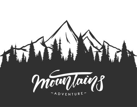 Vector illustration: Modern brush lettering of Mountains Adventure on Hand drawn pine forest background