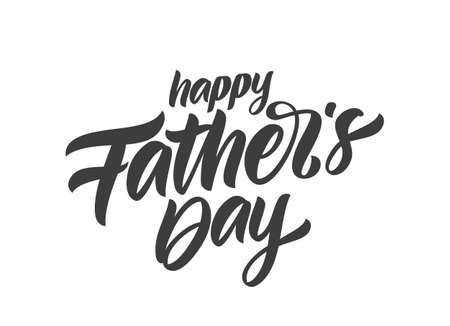 Vector illustration: Handwritten Calligraphic type lettering of Happy Fathers Day on white background.