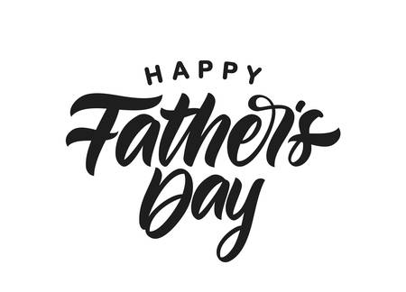 Vector illustration: Handwritten Calligraphic brush type lettering of Happy Fathers Day on white background.