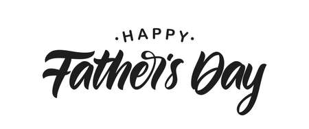Vector illustration: Handwritten Calligraphic type lettering composition of Happy Fathers Day on white background. Çizim
