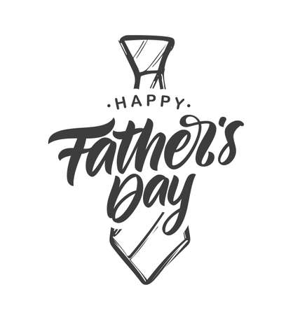 Vector illustration: Handwritten type lettering composition of Happy Fathers Day with hand drawn tie on white background  イラスト・ベクター素材