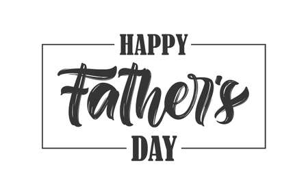 Vector illustration: Calligraphic type lettering composition of Happy Fathers Day on white background.