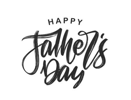 Handwritten calligraphic brush type lettering of Happy Fathers Day.