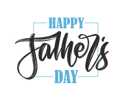 Vector illustration: Hand drawn calligraphic brush type lettering composition of Happy Fathers Day on white background.  イラスト・ベクター素材