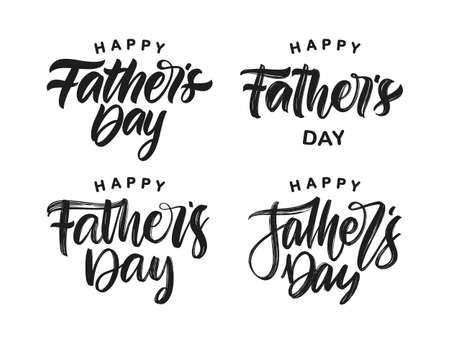Set of Handwritten calligraphic brush type lettering of Happy Fathers Day. Illustration