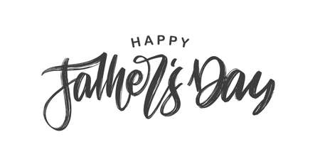 Vector illustration: Handwritten calligraphic brush type lettering of Happy Fathers Day isolated on white background.