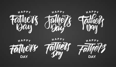 Vector illustration: Set of Handwritten brush calligraphic type lettering of Happy Fathers Day on chalkboard background.
