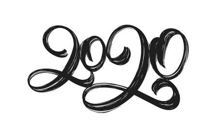 Handwritten calligraphic textured brush lettering of 2020 on white background.